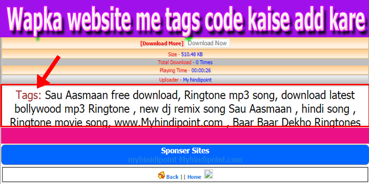 Wapka website download page mai tags code kaise add kare wapka code